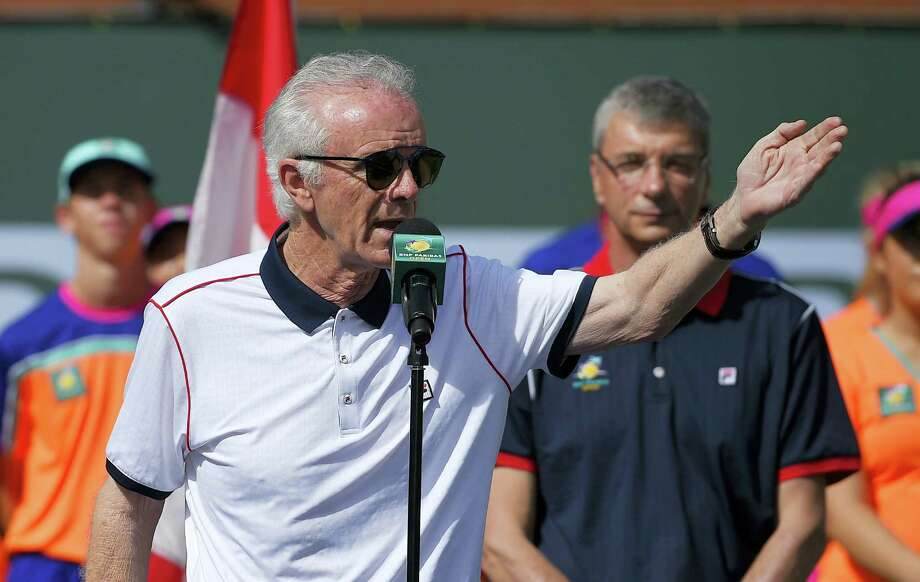 Tournament director Raymond Moore gestures while speaking at the BNP Paribas Open tennis tournament in Indian Wells, Calif. Moore quit as chief executive officer and tournament director late Monday night. Photo: The Associated Press File Photo  / AP