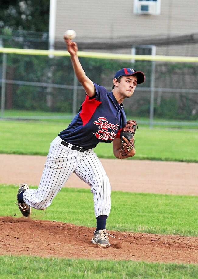 Josh Rubino pitches for Sports Palace in his team's game against the NWCT Orioles. Photo: MARIANNE KILLACKEY — REGISTER CITIZEN  / 2015