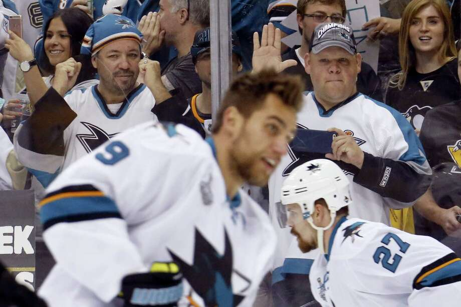 Sharks fans watch as the team warms before the start of Game 2 of the Stanley Cup finals on Wednesday. Photo: Keith Srakocic — The Associated Press  / AP