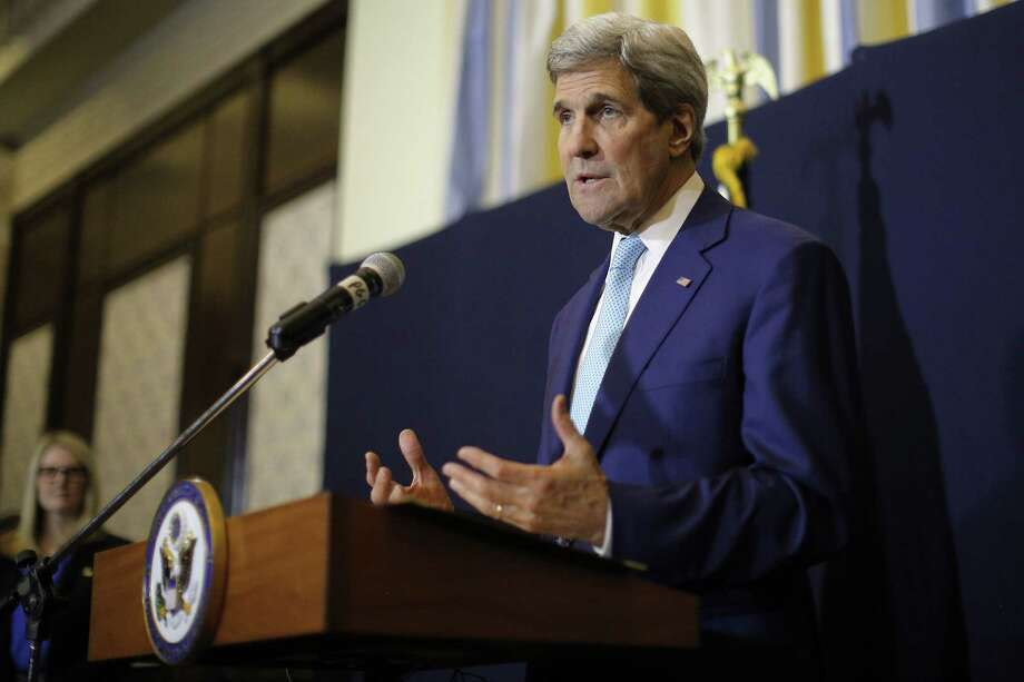 """U.S. Secretary of State John Kerry speaks at a news conference in Sharm el-Sheikh, Egypt on March 14, 2015. Kerry said he's returning to nuclear negotiations with Iran with """"important gaps"""" standing in the way of a deal. He spoke Saturday in the Egyptian resort, where he attended an economic conference. Photo: AP Photo/Brian Snyder, Pool  / POOL Reuters"""