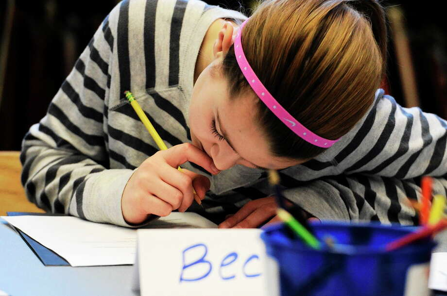 Saratoga Springs Lake Elementary School students work on their planets they learn in the Gifted and Talented class, STEM integration program taught through BOCES, in this 2014 file photo. Photo: The Saratogian File Photo