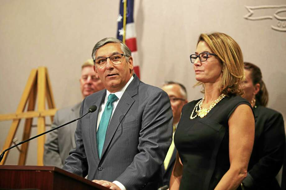 Senate Republican Leader Len Fasano, R-North Haven, and House Minority Leader Themis Klarides, R-Derby, speak to the media Friday in Hartford. Photo: Christine Stuart — CT News Junkie