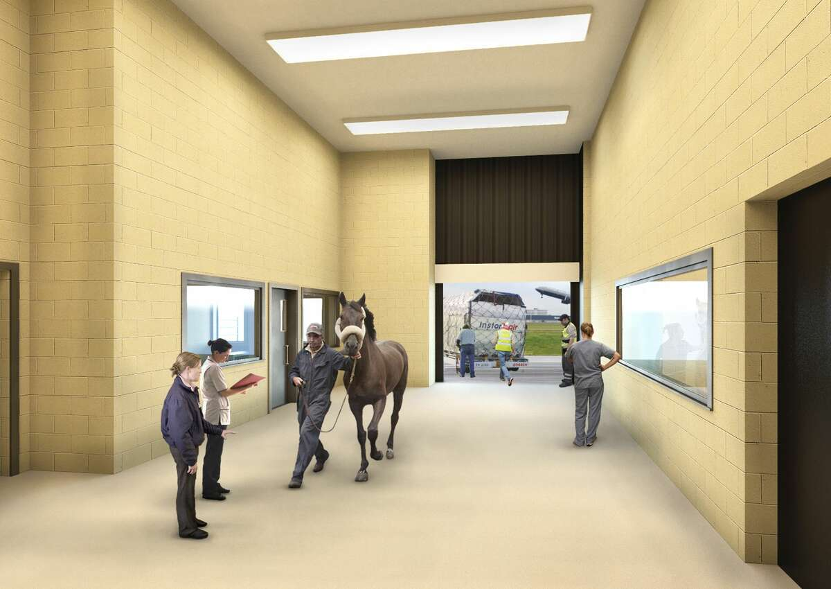 This undated artist rendering provided by Classic Communications courtesy of ARK Development depicts a horse being escorted into a planned new luxury terminal at New York's John F. Kennedy International Airport. The privately owned ARK, as it's called, will handle the more than 70,000 animals that pass through JFK each year, including dogs, cats, horses, cows, birds, sloths and aardvarks.