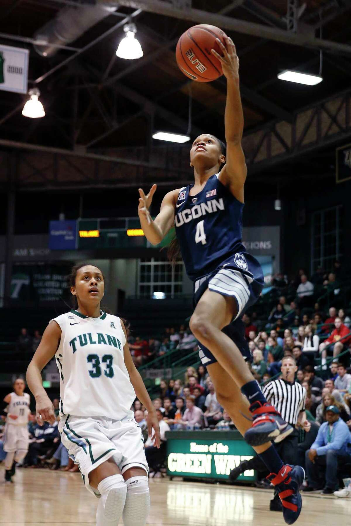 Jessica Hill — The Associated Press UConn's Moriah Jefferson goes in for a layup earlier this year against Tulane.