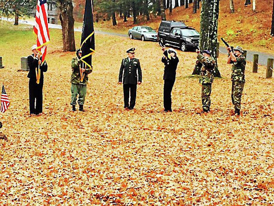 Winsted officials and VFW Post 296 honor veterans Wednesday morning with a ceremony at Forest View Cemetery. Photo: Contributed Photo