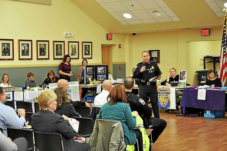 CONTRIBUTED PHOTO Torrington Police Chief Michael Maniago addresses municipal officials and representatives of local service providers Thursday. Photo: Journal Register Co.