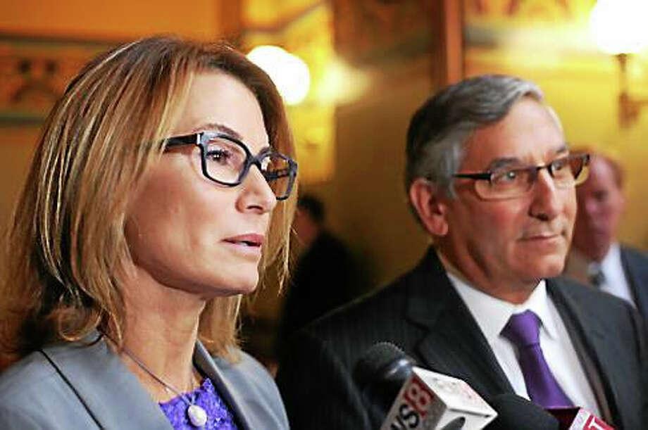 House Minority Leader Themis Klarides and Senate Republican Leader Len Fasano. Photo: Christine Stuart — Ctnewsjunkie