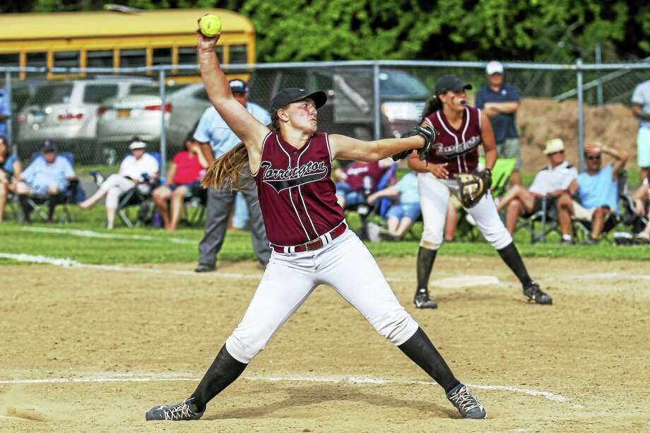 Torrington pitcher Ali Dubois pitched a perfect game to lead the Red Raiders to a 2-0 win over Brookfield in the Class L State Tournament second round Wednesday at Torrington High School. Photo: Photo By Marianne Killackey  / 2015