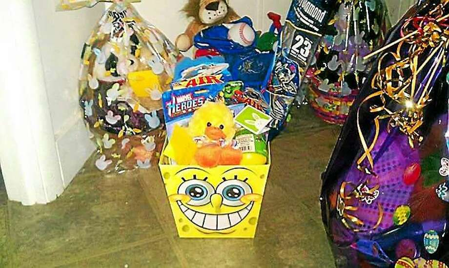 Some of the 175 Easter baskets that Gina Peters made and donated last year. Photo: Contributed Photo