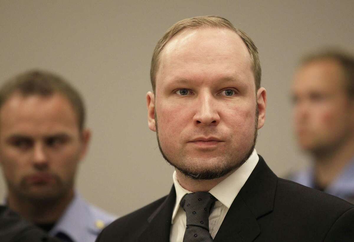 In this Friday, Aug. 24, 2012 file photo, Anders Behring Breivik listens to the judge in the courtroom, in Oslo, Norway. The University of Oslo says Friday July 17, 2015, convicted mass killer Anders Behring Breivik has been admitted to its political science program, adding the 36-year-old right-wing extremist would remain in his cell to study.
