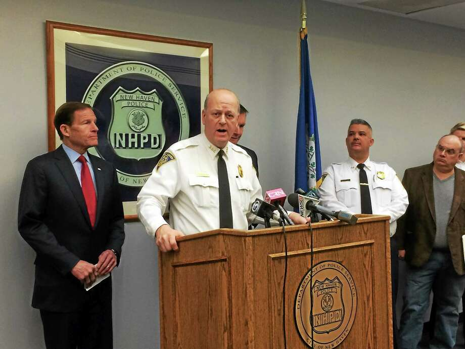 U.S. Sens. Richard Blumenthal and Chris Murphy, along with New Haven Police Chief Dean Esserman, called for the U.S. Bureau of Alcohol, Tobacco, Firearms and Explosives to resume its efforts to ban certain types of armor-piercing bullets. Photo: Wes Duplantier — New Haven Register