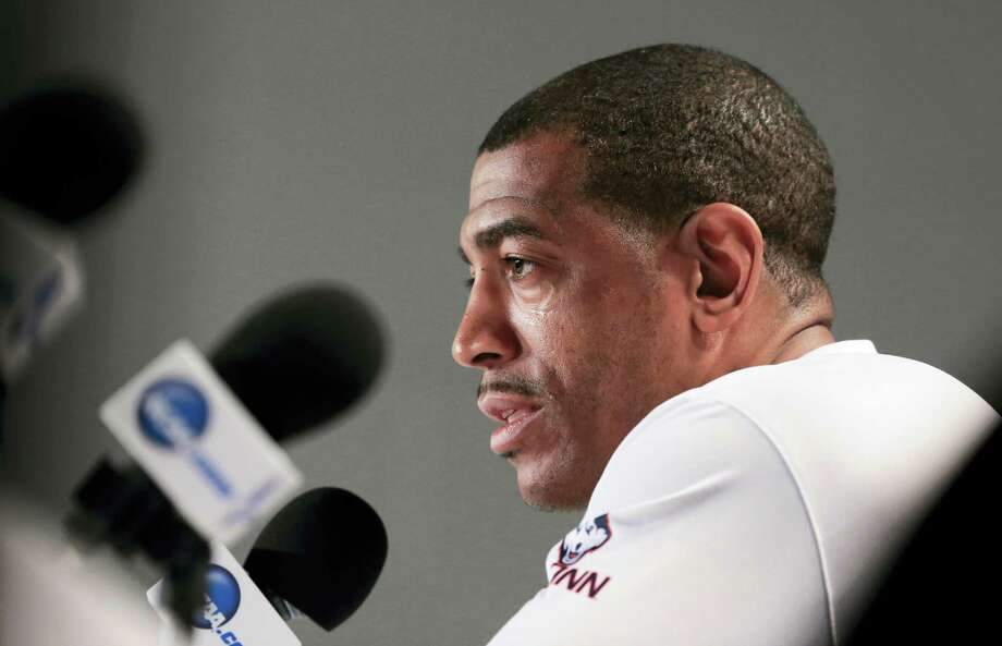 UConn coach Kevin Ollie speaks during a news conference on Friday in Des Moines, Iowa. Photo: Nati Harnik — The Associated Press  / Copyright 2016 The Associated Press. All rights reserved. This material may not be published, broadcast, rewritten or redistributed without permission.
