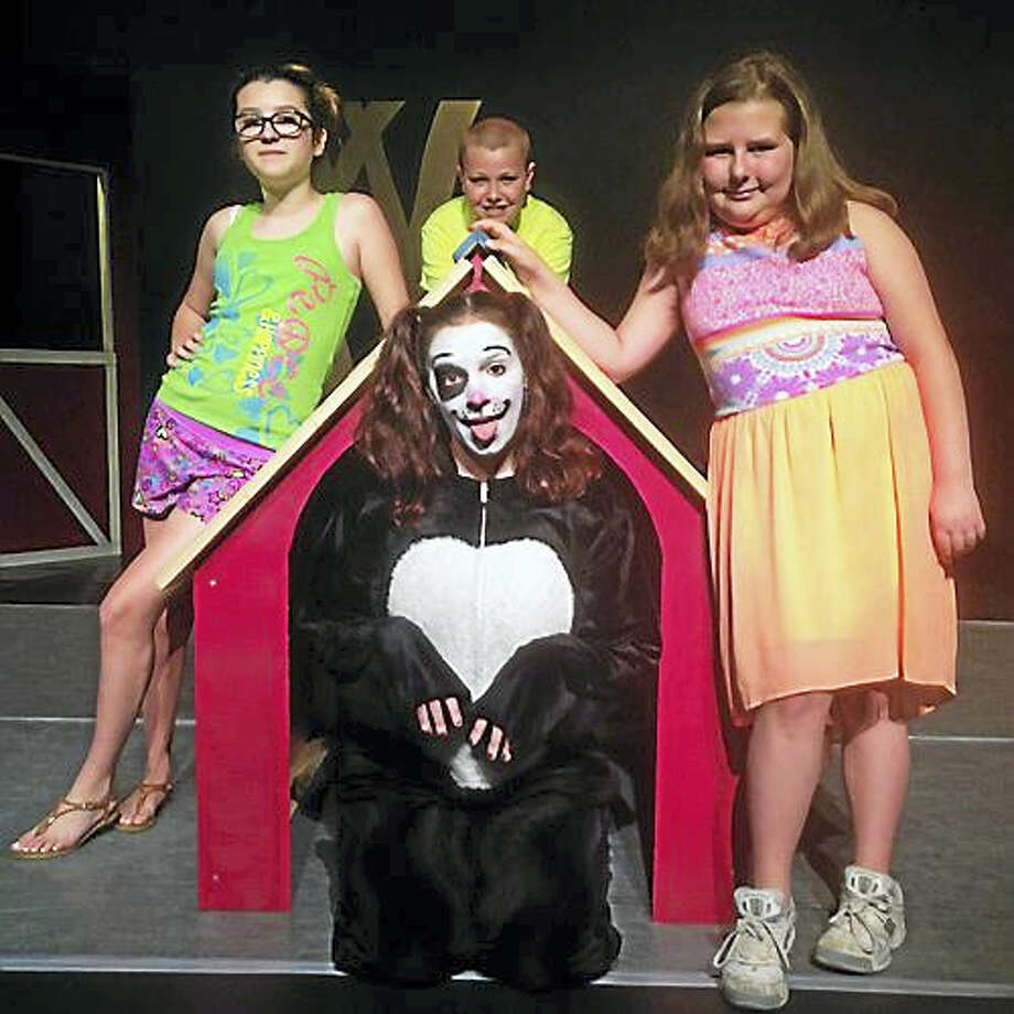 """Contributed photoThe cast of """" No Dogs Allowed"""" includes  Jordan Mae Curtis, Brady McKenna, and Hailey Auburn, surround Caitlin Barra, dressed as 'Junket' the dog. Photo: Journal Register Co."""