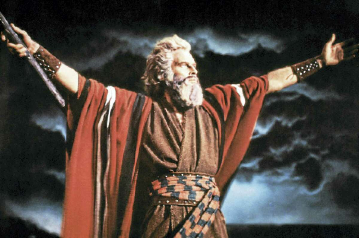 "Charlton Heston as Moses in ""The Ten Commandments."""