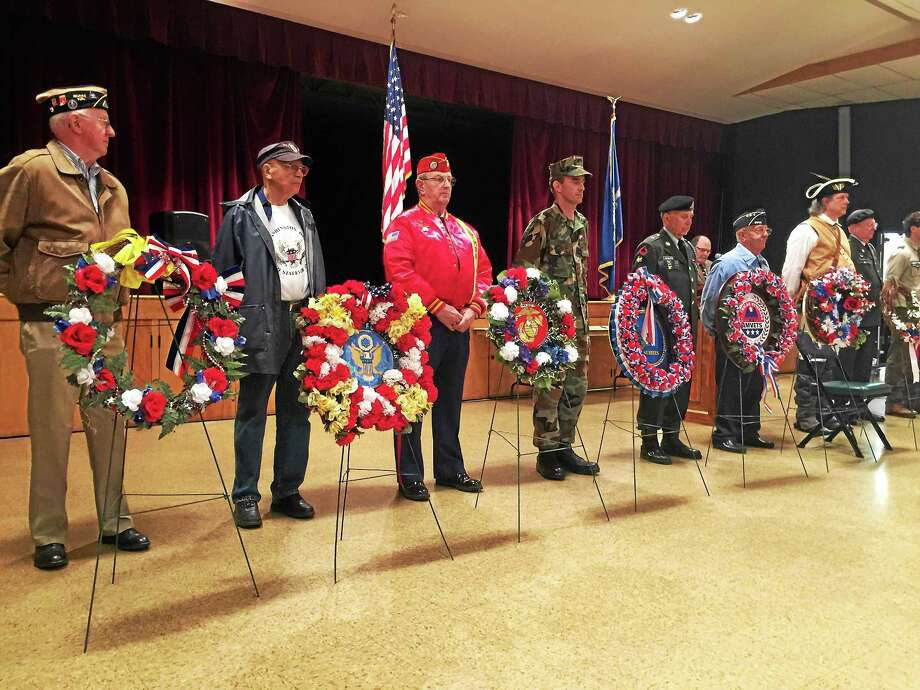 Local residents gathered together Wednesday, as a ceremony marking the Veterans Day holiday was held in the Coe Memorial Park Civic Center. Photo: BEn Lambert — The Register Citizen