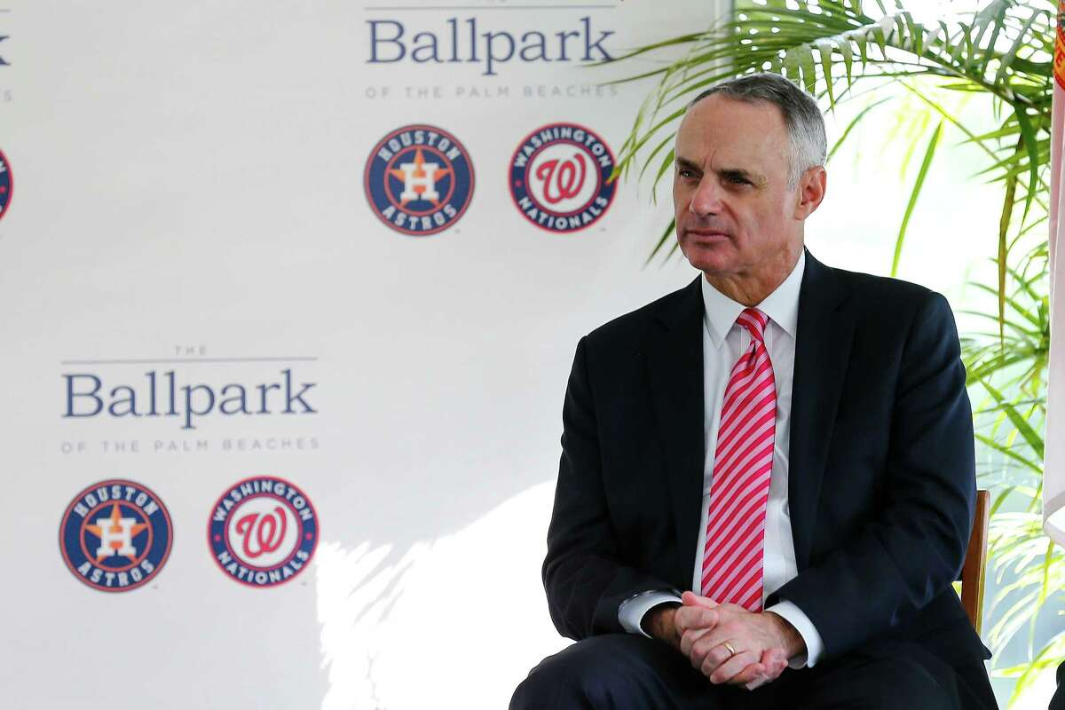 Major League Baseball Commissioner Rob Manfred listens during the groundbreaking ceremony for the future home of the Houston Astros' and Washington Nationals' spring training facility on Monday in West Palm Beach, Fla.