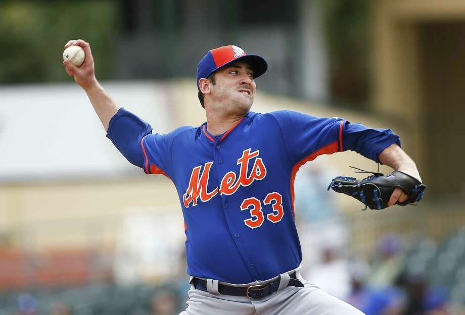 New York Mets starter Matt Harvey works in the first inning of a spring training game against the Miami Marlins on Wednesday in Jupiter, Fla. Photo: John Bazemore — The Associated Press  / AP