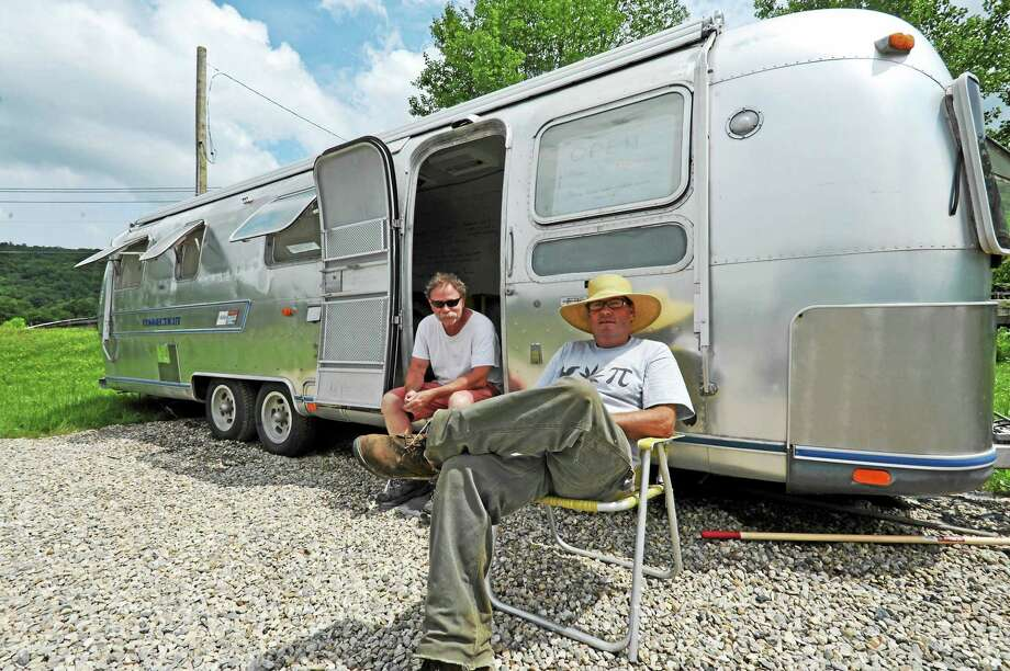 Mike Walsh and Kenny Dahill at the MarWin Airstream trailer farm stand in New Hartford. Photo: John Fitts — The Register Citizen