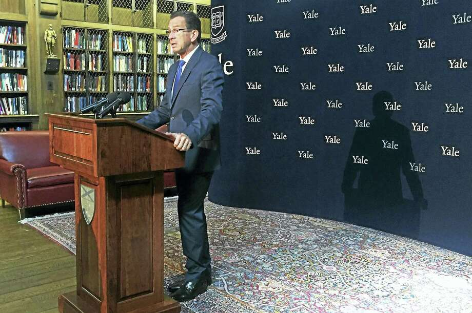 Connecticut Gov. Dannel Malloy announces a new, statewide plan to address the state's opioid crisis during a press conference at the Yale School of Medicine on Thursday, Oct.6, in New Haven. Esteban L. Hernandez New Haven Register Photo: Journal Register Co.