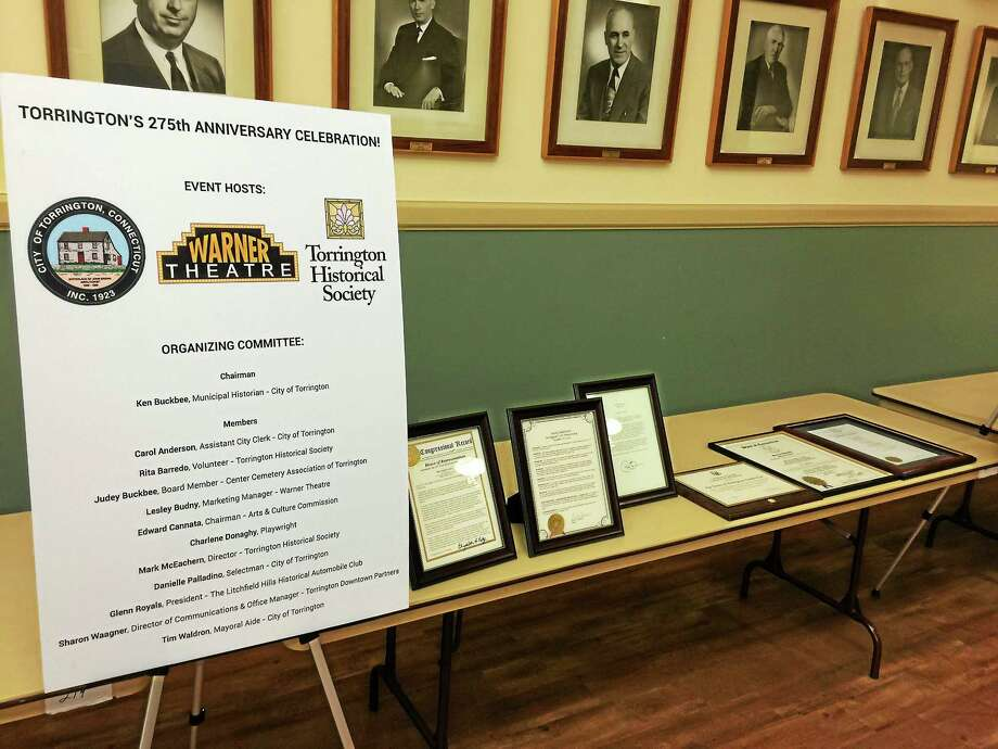The proclamations received by the city in recognition of the recent celebration of its 275th anniversary. Photo: BEN LAMBERT — The Register Citizen