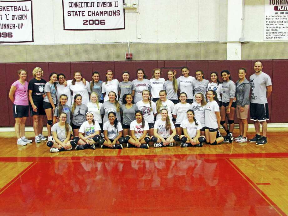 Torrington's girls volleyball team and coaches dig for gold against children's cancer at Friday's 6 p.m. match against Naugatuck. Fans are asked to bring new toys or monetary donations for the Connecticut Children's Medical Center in Hartford. Photo: Photo By Peter Wallace