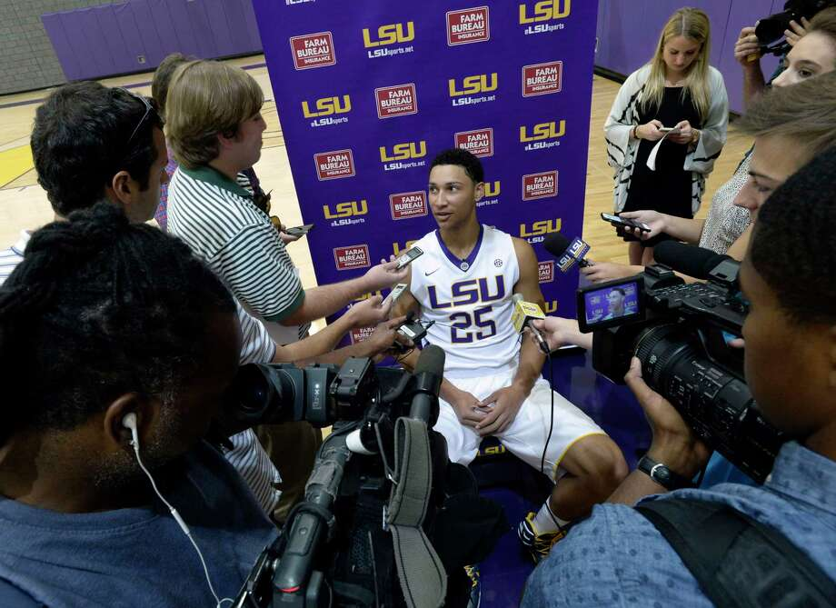 LSU freshman Ben Simmons speaks during media day in Baton Rouge, La. in October. Simmons was selected to The Associated Press preseason All-America team on Monday. Photo: The Associated Press File Photo  / The Advocate