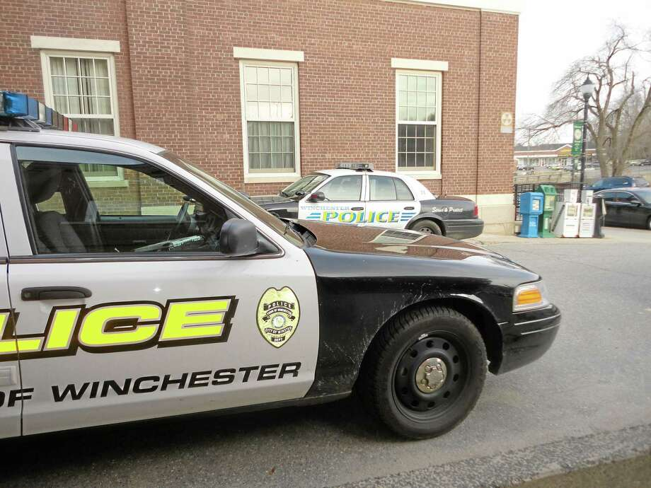 A Winchester Police Department cruiser is seen outside the department. Photo: Register Citizen File Photo