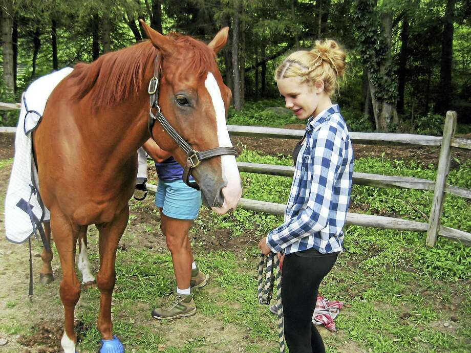 Lilly Kaiser tends to Gus at H.O.R.S.E. of Connecticut in Washington Saturday. Photo: Photo By John Torsiello
