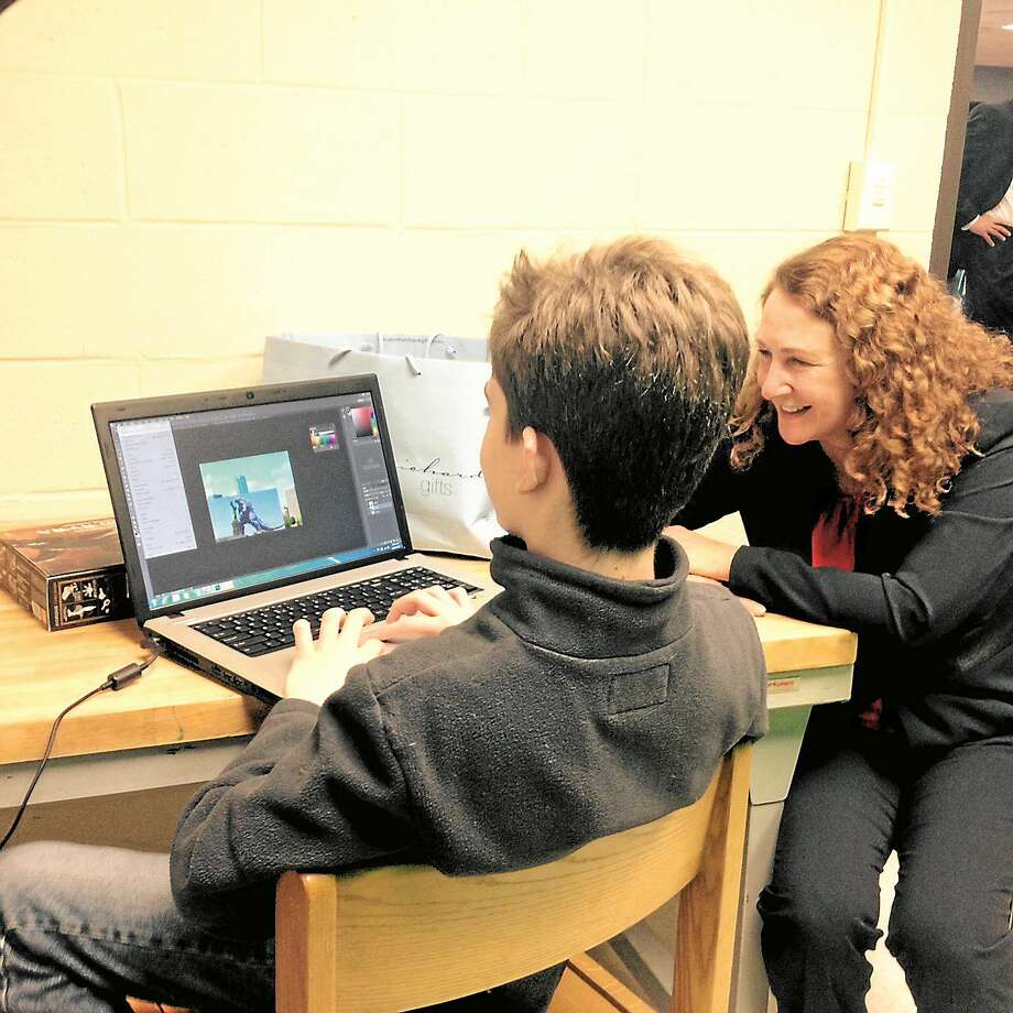 Congresswoman Elizabeth Esty toured Wamogo Regional High School's Makerspace Wednesday to see how students at work in the innovative space. Photo: Kaitlin McCallum — The Register Citizen