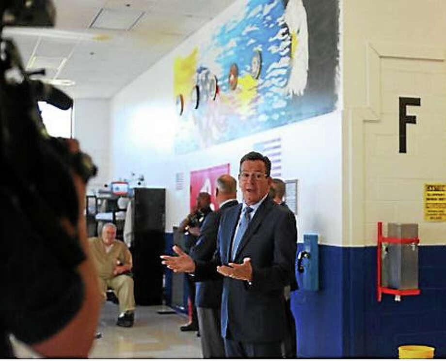 Gov. Dannel P. Malloy addresses the veterans' unit. Photo: Photo By Christine Stuart