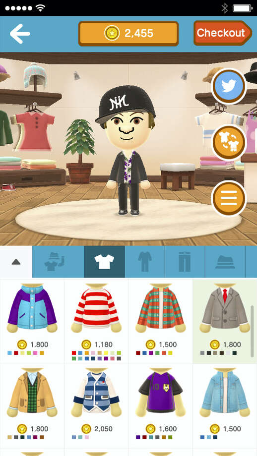 """This image provided by Nintendo shows part of the app called """"Miitomo,"""" launching in Japan on March 17, 2016, featuring its customizable characters called Miis. The avatars can be created with the app using a smartphone camera and then outfitted with virtual fashions and quizzed by other Miis. Photo: Nintendo Via AP  / Nintendo"""