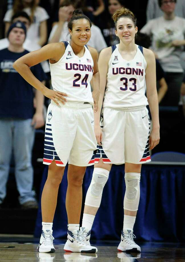 UConn's Napheesa Collier, left, and Katie Lou Samuelson. Photo: Jessica Hill — The Associated Press  / FR125654 AP