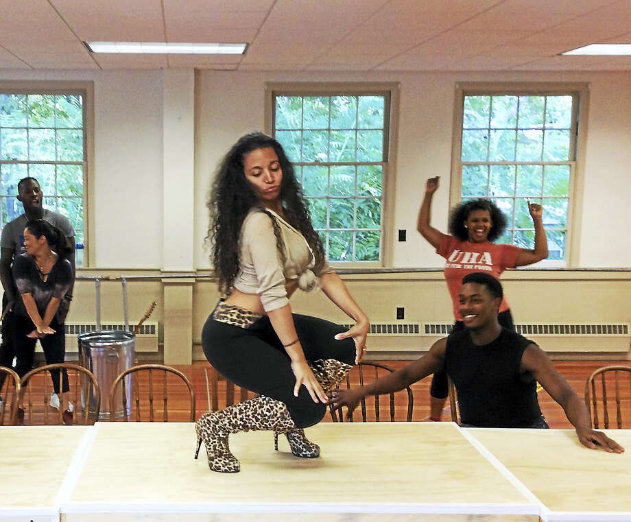 Alyssa Gomez with other cast members in rehearsals. Photo: Photo Courtesy Of Jacqui Hubbard