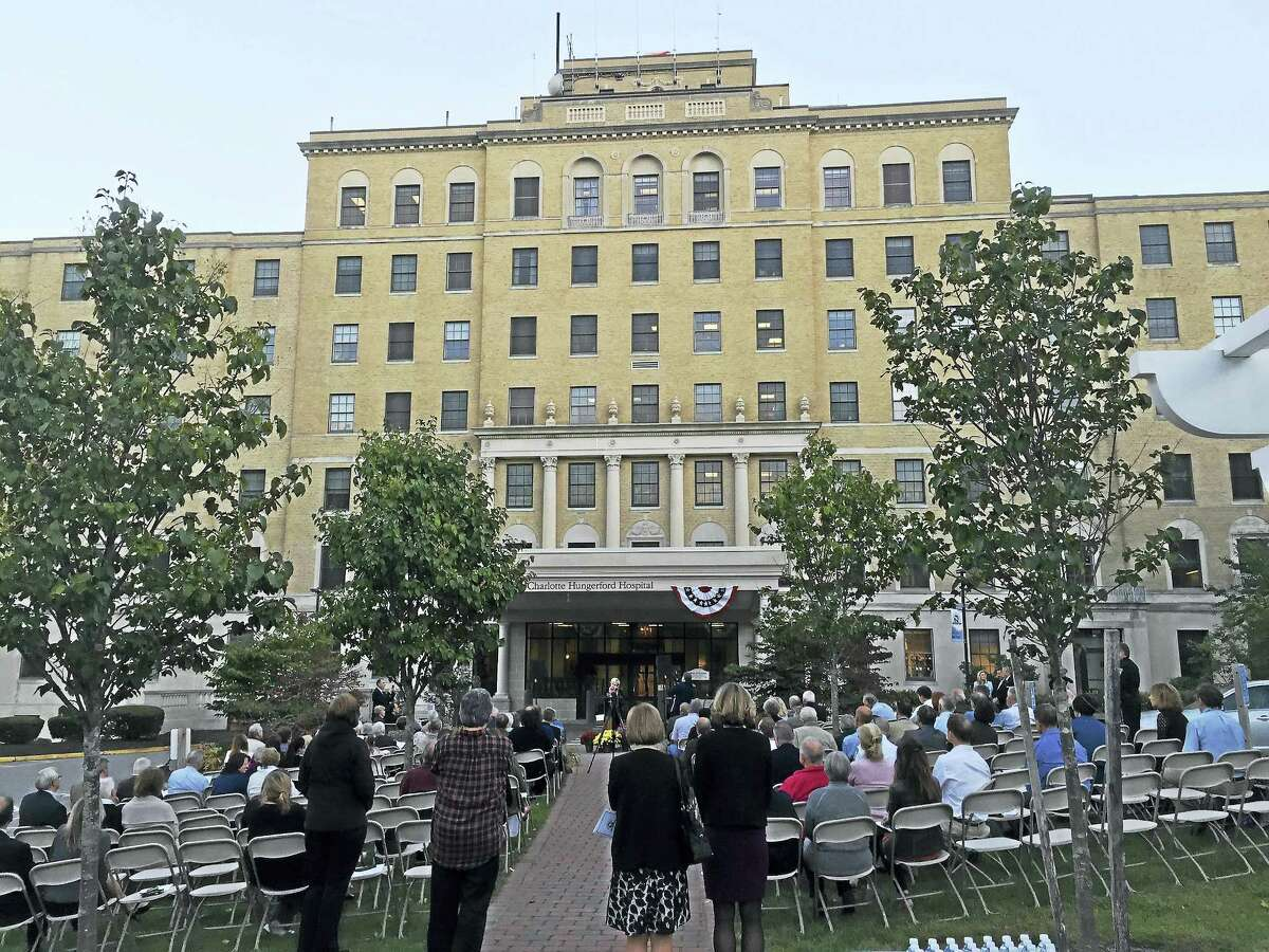 Ben Lambert - The Register CitizenThe community marked the 100th anniversary of Charlotte Hungerford Hospital Wednesday evening, as a commemorative ceremony was held on the hospital grounds in Torrington.