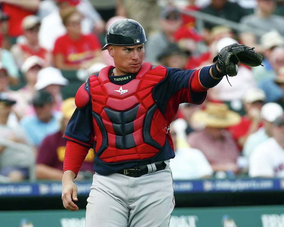 Catcher Christian Vazquez and the Boston Red Sox shut out the St. Louis Cardinals 3-0 on Monday in Jupiter, Fla. Photo: John Bazemore — The Associated Press  / AP
