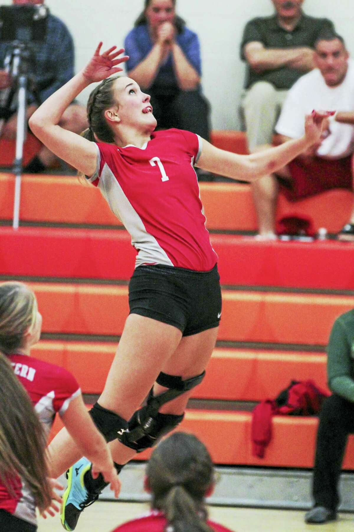 Photo by Marianne KillackeyDespite great digs by the Kangaroos, Northwestern's Molly Clarke led all hitters with 16 kills in the Highlander win at Terryville High School.