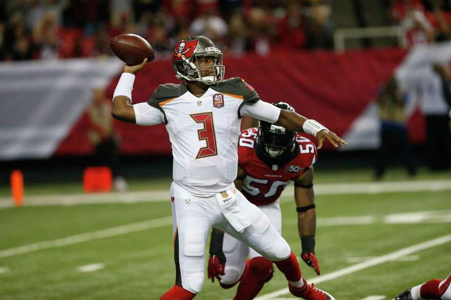 Tampa Bay Buccaneers quarterback Jameis Winston works against the Falcons last Sunday in Atlanta. Photo: The Associated Press  / AP
