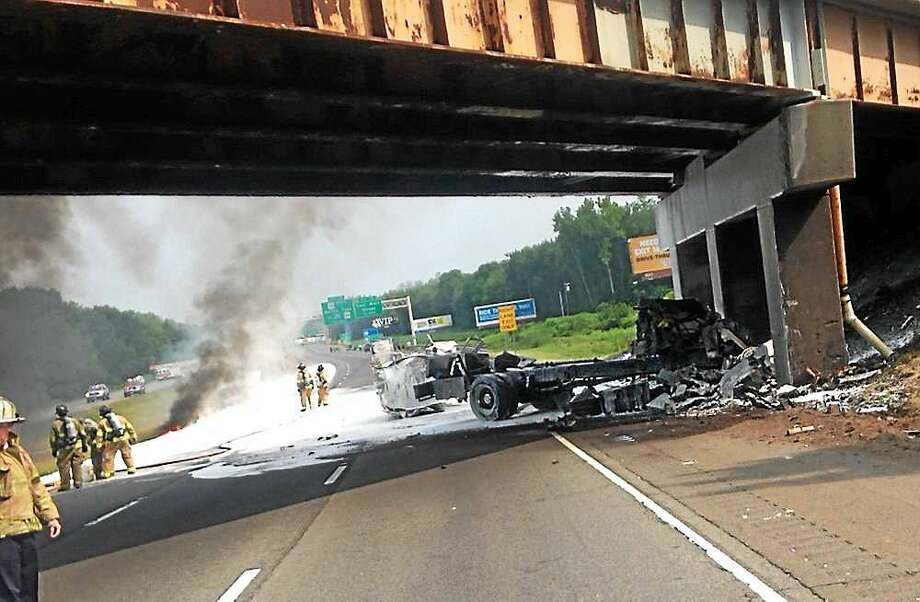 The scene of a rollover accident on I-91 in Meriden Monday. Photo: Courtesy Of Connecticut State Police's Twitter (@CT_State_Police)