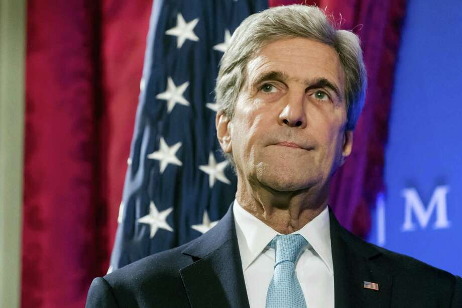 """U.S. Secretary of State John Kerry smiles during a speech on the future of """"Transatlantic Relations"""" during an event hosted by The German Marshall Fund (GMF) and the U.S. Mission to the EU at Concert Noble in Brussels on Oct. 4, 2016. Kerry is in Brussels for a two-day conference, hosted by the EU, with the participation of over 70 countries to discuss the current situation in Afghanistan. Photo: AP Photo/Geert Vanden Wijngaert  / Copyright 2016 The Associated Press. All rights reserved."""