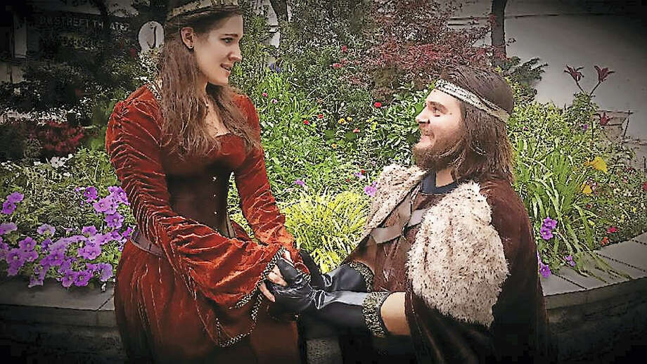 "Edward (Ben Forer) and Countess (Rachel Matusewicz) in ""Edward III,"" coming to the Stratford Library Saturday. Photo: Contributed"