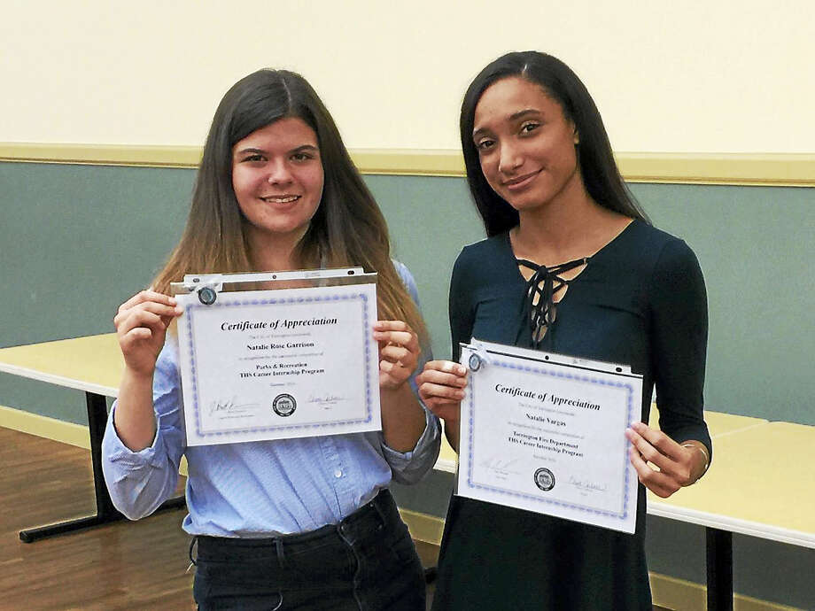 Ben Lambert - The Register CitizenNatalie Rose Garrison and Natalie Vargas, two of the Torrington High School students recognized Monday for their internships with the city government over the summer. Photo: Journal Register Co.