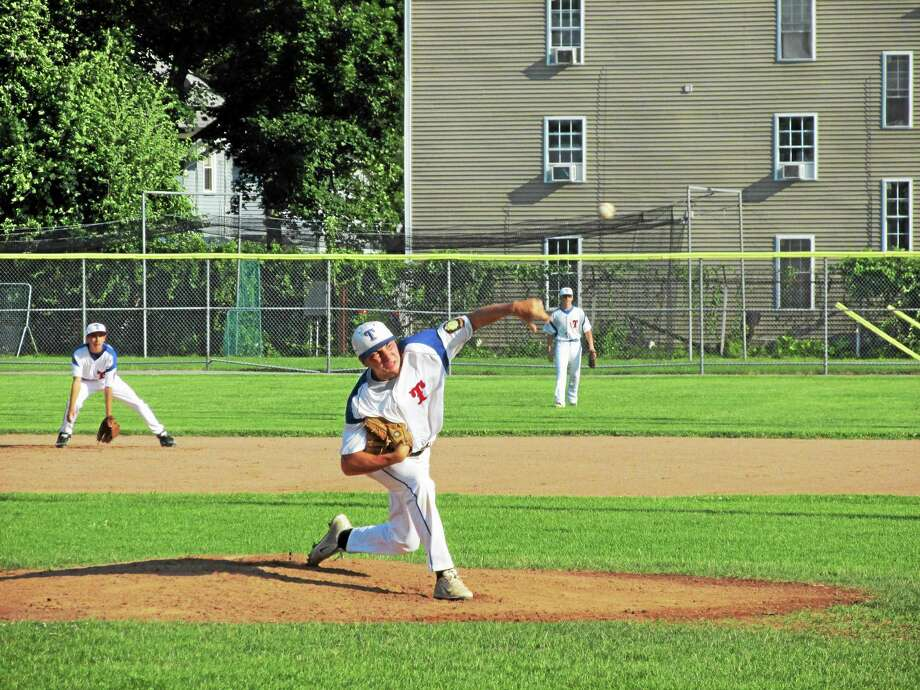 Torrington's Shane Bierfeldt gave up just five hits and one earned run in the P38s first-game loss to Avon in Friday's double header at Fuessenich Park. Photo: Peter Wallace - Register Citizen