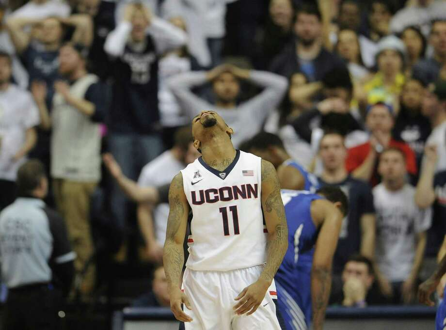 UConn's Ryan Boatright reacts during the second half of Thursday's loss to Memphis. Photo: Jessica Hill — The Associated Press  / AP2015