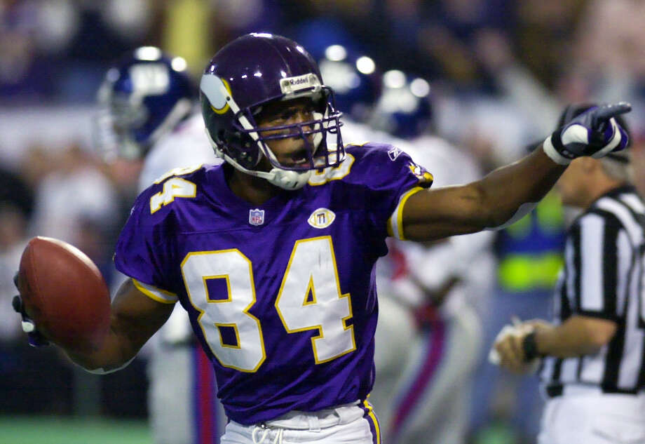 Fifteen years ago, the Vikings beat the Giants in a Monday night game on the strength of three touchdown catches by Randy Moss. This year, Moss will be watching on the sideline as an ESPN analyst when the Vikings and Giants play on Monday. Photo: The Associated Press File Photo  / 2001 AP