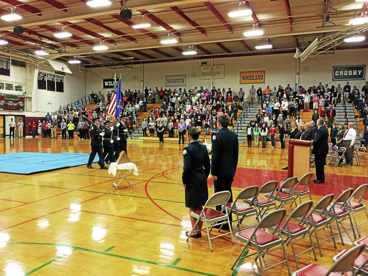 The colors being presented by the Torrington AFJROTC honor guard during a ceremony held Wednesday to honor veterans and mark the upcoming Veterans Day holiday.