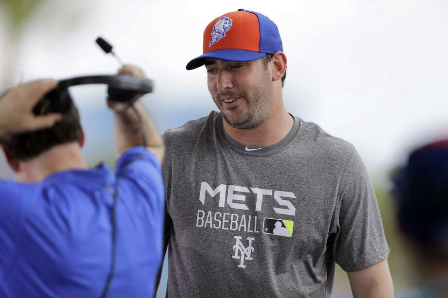 New York Mets pitcher Matt Harvey gets up to leave after taking part in a TV interview Tuesday in Port St. Lucie, Fla. Photo: Jeff Roberson — The Associated Press  / AP