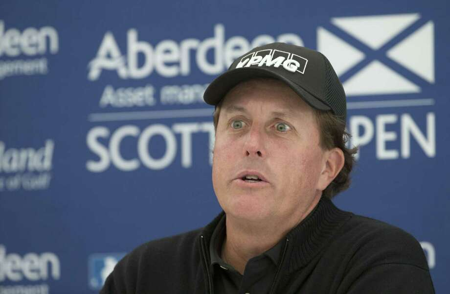 Phil Mickelson answers questions from the media during a preview day ahead of the Scottish Open in Gullane on Wednesday. Photo: Kenny Smith — The Associated Press  / PA