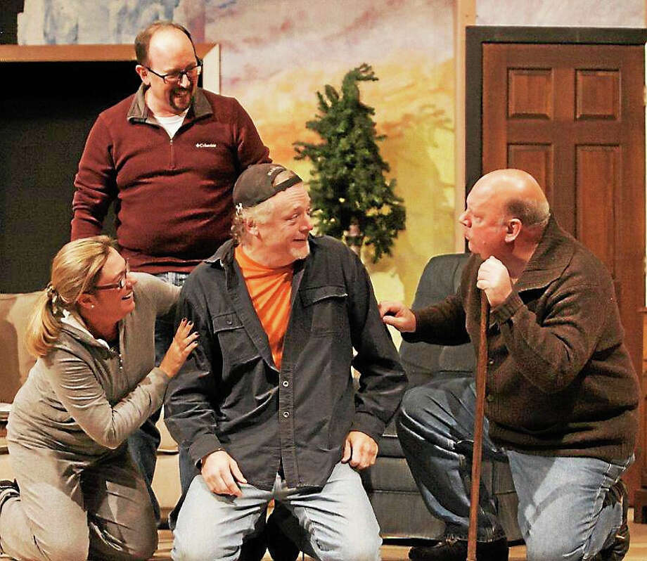 "Photos by Heather Boscarino The family of ""Greetings! rehearses a scene for the Goshen Players' production, opening Nov. 6. Photo: Journal Register Co."