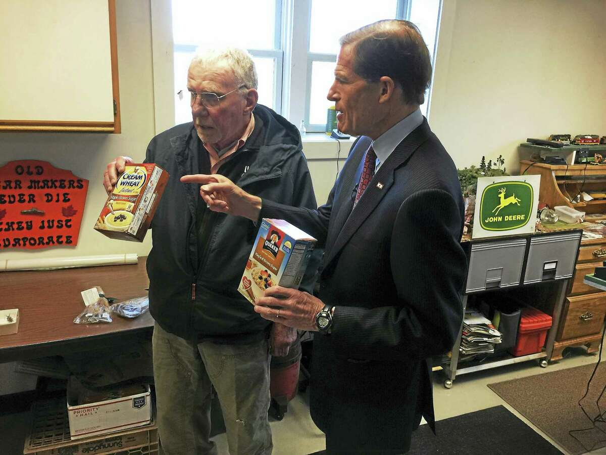 U.S. Sen. Richard Blumenthal toured the maple syrup operation at Brookside Farm II in Litchfield Friday with owner Mark Harran.