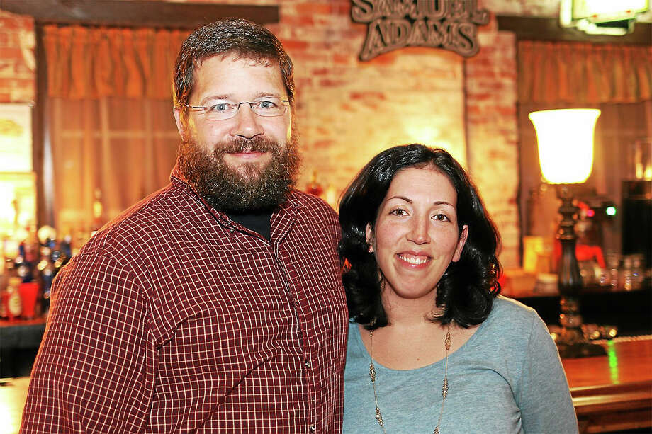 Chris and Christina Sayer, seen here at Parrott Delaney Tavern in New Hartford, plan to open Brewery Legitimus in the former Waring factory complex on Route 44 in New Hartford. Photo: John Fitts — The Register Citizen
